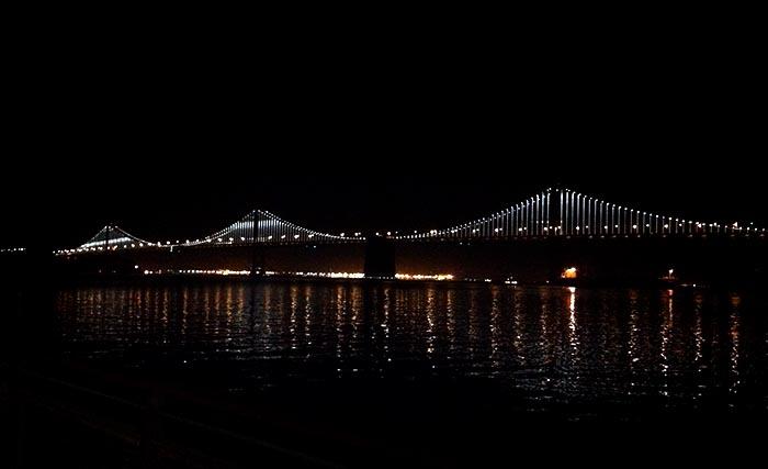 SF-reflections Bay Bridge at night